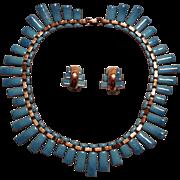 Matisse Peter Pan blue enamel copper necklace clip earrings set