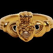 14KP Gold Diamond claddagh ring 14K plumb hand and heart Irish