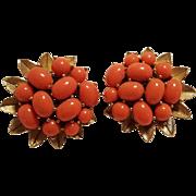 Trifari lucite coral cabochon clip earrings gold tone