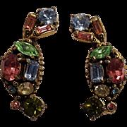 1955 Hollycraft clip earrings pastel rhinestone prong set