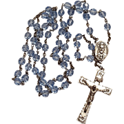 Sterling silver rosary blue faceted crystals Swift & Fisher