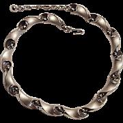 Trifari brushed silver tone choker length necklace