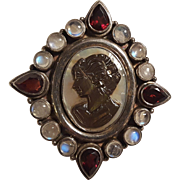 Sterling silver abalone cameo pin pendant garnet moonstone