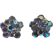 Weiss blue aurora borealis rhinestone star clip earrings