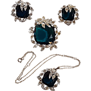 Sarah Coventry holiday ice set parure pin earrings and pendant necklace