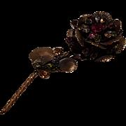 Vendome huge five inch rhinestone flower pin fuchsia purple