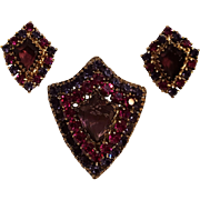 Weiss shield shaped rhinestone pin earrings set