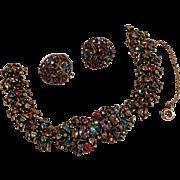 Hollycraft 1960 pastel rhinestone bracelet earrings set