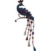 "Avon rhinestone peacock pin gun metal finish 6 3/8"""