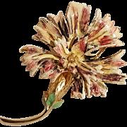 Hattie Carnegie enamel thistle flower pin gold tone