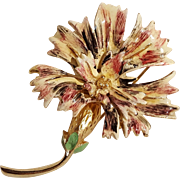 Hattie Carnegie enamel thistle flower pin gold tone
