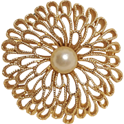 Trifari gold tone simulated pearl pin openwork petals