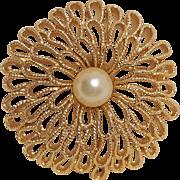 Trifari gold tone simulated pearl pin openwork petals