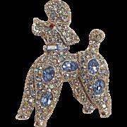 Pell rhinestone poodle iridescent and blue rhodium plate
