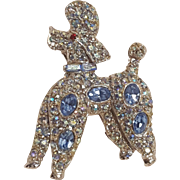 Pell rhinestone poodle iridescent and blue rhodium plate