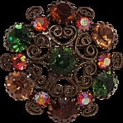 Weiss rhinestone pin filigree scrolls multi color rhinestone