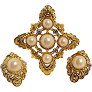 KJL Avon Kenneth Lane Renaissance  collection pin pendant earrings set