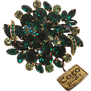 Coro  rhinestone pin shades of green paper label