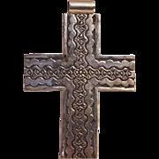 Wilson Tsosie Navajo sterling silver cross pendant stamped