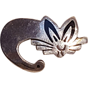 Taxco sterling silver stylized cat pin black stone inlay
