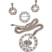 Sarah Coventry Swan Lake necklace pin clip earrings set