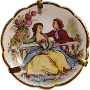 Limoges France miniature porcelain plate pin Watteau scene lovers