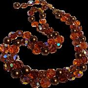 Crystal bead necklace orange and topaz aurora borealis