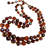 Crystal bead necklace orange and topaz aurora borealis