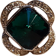 Sarah Coventry ring square rivoli rhinestone green