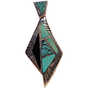 Carol Felley Southwest sterling silver turquoise onyx inlay pendant