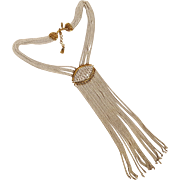 Monet Mod necklace long multi chain fringe white