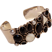 Sterling silver onyx pearl and mother of pearl cuff bracelet