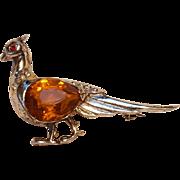 Reja sterling silver pheasant pin honey amber glass stone