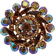 Rhinestone pin brooch aurora borealis chatons topaz brown navettes
