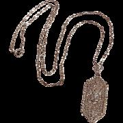 10K White gold diamond Edwardian filigree pendant necklace fetter chain