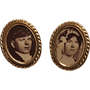 Portrait cufflinks bride and groom on celluloid