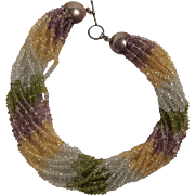 Multi gemstone torsade necklace peridot citrine amethyst sterling toggle