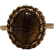 14K Gold carved tigers eye scarab ring hallmarked