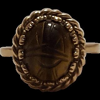 14K Gold carved tigers eye scarab ring hallmarked