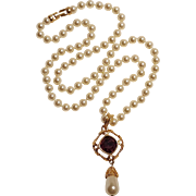 Swarovski simulated pearl bead and drop necklace purple crystal