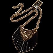 Hobe mesh necklace with black glass fringe