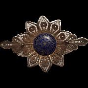 Sterling silver filigree pin cobalt blue enamel Aztec calendar