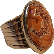 Jay King DTR sterling silver Jasper stone cabochon ring