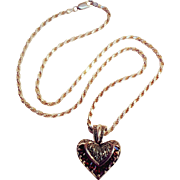 Sterling silver garnet marcasite heart pendant necklace