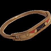 Sterling silver multi color enamel hinged bangle bracelet oblong