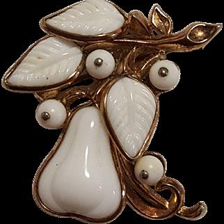 Trifari 1954 molded white milk  glass pear pin