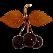 Russian amber cherry pin Kaliningrad dangling cherries