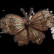 800 Silver enamel filigree butterfly pink pale blue