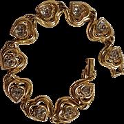 Swarovski signed swan logo heart bracelet gold tone