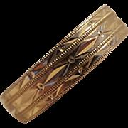 14K Gold engraved cigar band ring unisex male